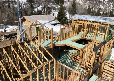 Arial view of the Framing for a custom built home during framing in Steamboat Springs