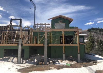 Custom built Home being framed in Steamboat Springs during the winter