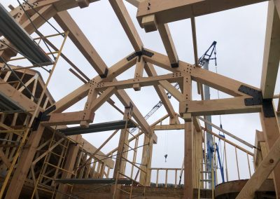 Trusses of a custom built home during the building process