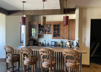 Residential custom built bar area with L shaped island