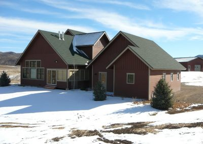 Exterior view of custom residential home in Steamboat during the winter