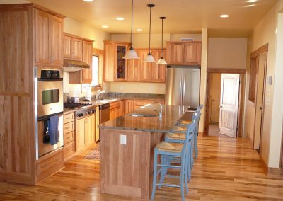 Residential custom kitchen with an island