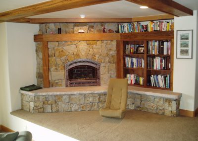 Residential fireplace built in with bookcases