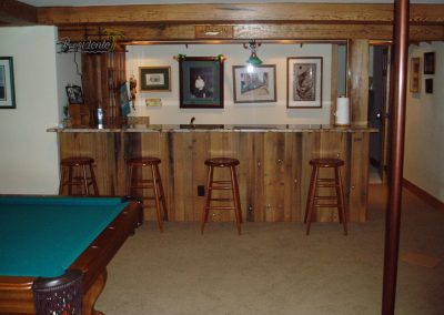 Residential game room with bar